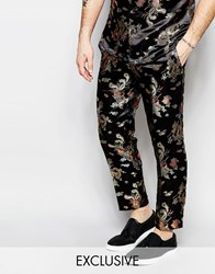 Reclaimed Vintage Cropped Trousers In Floral Print Black