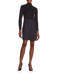 French Connection Long Sleeve Turtleneck Sheath Dress Nocturnal
