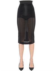 Dolce And Gabbana Sheer Stretch Mesh Pencil Skirt