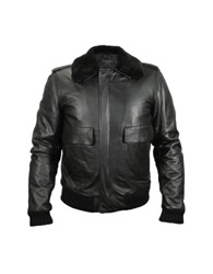 Forzieri Men's Black Leather Jacket W Detachable Shearling Collar