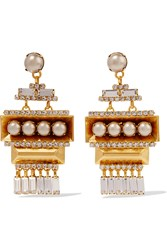 Elizabeth Cole Gold Plated Swarovski Crystal And Faux Pearl Earrings Metallic