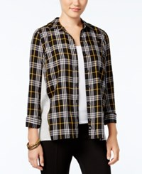 G.H. Bass And Co. Mixed Media Plaid Shirt Black Combo
