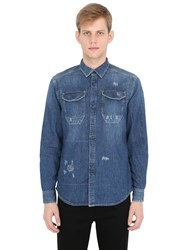 G Star Destroyed Cotton Denim Shirt