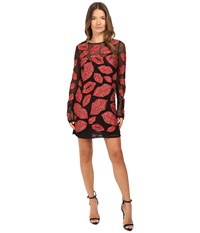 Just Cavalli All Over Lips Long Sleeve Runway Dress Red