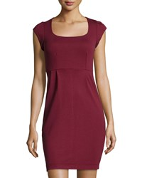 French Connection Manhattan Cap Sleeve Jersey Dress Burgundy