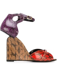 Pierre Hardy Three Tone Wedge Sandals Red