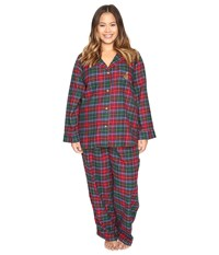 Lauren Ralph Lauren Plus Size Folded Brushed Twill Pj Plaid Red Green Blue Women's Pajama Sets