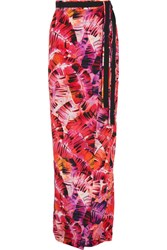 Matthew Williamson Parlatuvier Palm Printed Silk Charmeuse Wrap Skirt Bright Pink
