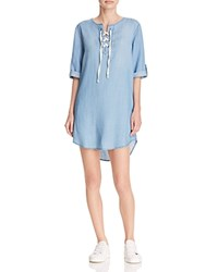 Aqua Senna Lace Up Chambray Dress Medium Sandblast