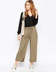 Asos Wide Cropped Trousers Green