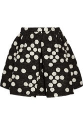 Giambattista Valli Polka Dot Brushed Jacquard Mini Skirt Black