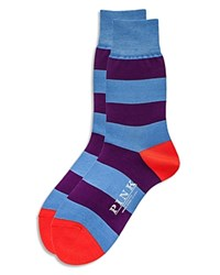 Thomas Pink Rugby Stripe Socks Sky Purple