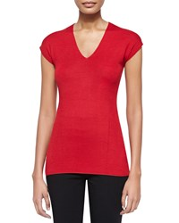 Donna Karan Cap Sleeve V Neck Top Real Red Women's