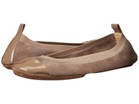 Yosi Samra Samantha Kid Suede Fold Up Flat With Patent Captoe Mink Women's Flat Shoes Brown