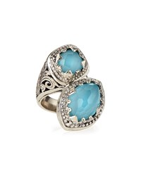 Turquoise And Rock Crystal Doublet Bypass Ring Konstantino