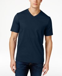Club Room Men's Cotton V Neck T Shirt Only At Macy's Navy Blue