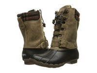 Sperry Saltwater Misty Black Brown Wool Plaid Women's Rain Boots