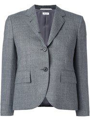 Thom Browne Cropped Sleeve Short Blazer Grey