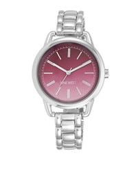 Nine West Silvertone Link Braclet Watch Pink Dial
