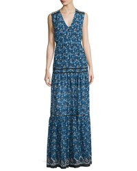 Veronica Beard Tecate Tiered Multipattern Maxi Dress Blue