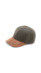 Rag And Bone Leather Brim Baseball Cap Black Olive
