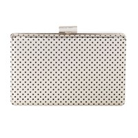 Karen Millen Perforated Metal Box Clutch Silver