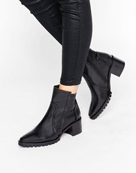 Asos Rectify Premium Leather Ankle Boots Black