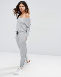 Asos Jumpsuit With Off Shoulder In Sweat Grey