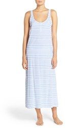 Women's Lauren Ralph Lauren Stripe Cotton Nightgown Wide Stripe Blue
