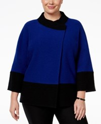Jm Collection Plus Size Colorblocked Wool Sweater Only At Macy's Bright Sapphire