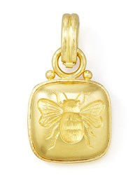 19K Cushion Gold Bee Pendant Elizabeth Locke