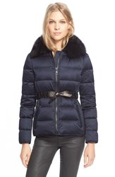 Women's Burberry Brit Belted Down Jacket With Genuine Fox Fur Collar Navy
