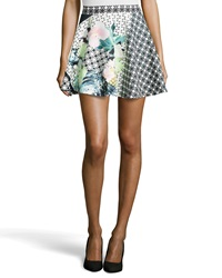 Romeo And Juliet Couture Mixed Floral Print Scuba Circle Skirt Black