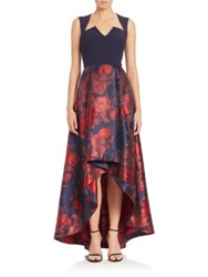 Black Halo Giovanna Hi Lo Crepe And Jacquard Gown Red Blue