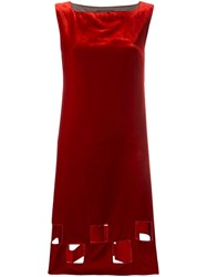 Jean Paul Gaultier Vintage Cut Out Velvet Dress Red