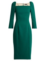 Dolce And Gabbana Square Neck Stretch Wool Pencil Dress Green