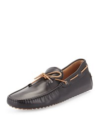 Tod's Braided Leather Driver Black