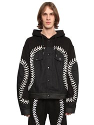 Ktz Baseball Seams Hooded Denim Jacket