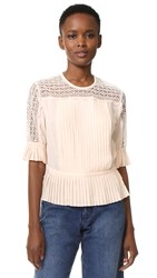 Tanya Taylor Solid Silk Lace Zohara Top Shell