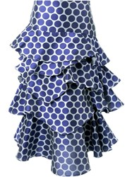 Awake Polka Dot Layered Skirt Blue