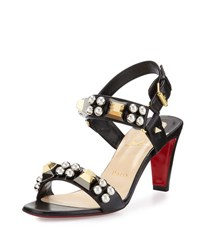 Christian Louboutin Pyrabubble Studded 70Mm Red Sole Sandal Black Dark Gunmetal Silver Gold Blk Dk Gun Sv Gld