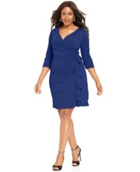 Ny Collection Plus Size Faux Wrap Ruffle Dress Sodalite Blue