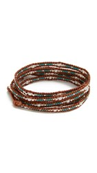 Chan Luu Penelope Wrap Bracelet Turquoise Mix Natural Brown