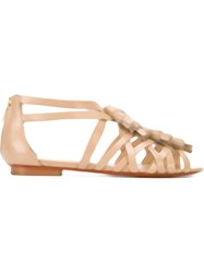 Santoni Strappy Flat Sandals Nude And Neutrals