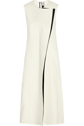 Calvin Klein Rosedale Crepe And Faux Leather Midi Dress White