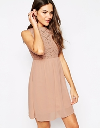 Vero Moda Sleeveless High Neck Dress With Lace Insert Mahoganyrose
