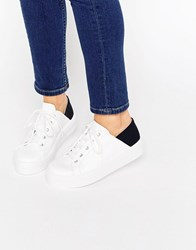 Asos Downtown Lace Up Flatform Trainers Mono White