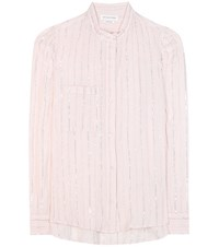 Etoile Isabel Marant Samson Metallic Striped Cotton Shirt Pink