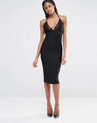 Missguided Strappy Mesh Insert Bodycon Dress Black