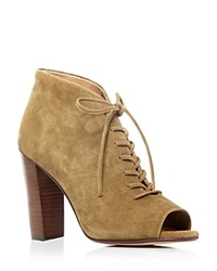 Splendid Janessa Open Toe Lace Up High Heel Booties Bloomingdale's Exclusive Dark Olive